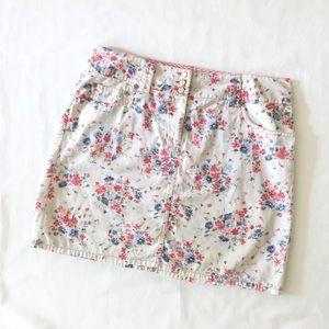 LOFT Pastel Floral Cotton Skirt